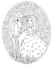 The Princess and the unicorn Royalty Free Stock Photo