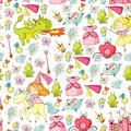 Princess vector patterns. Cute little princess with unicorn and dragon. Castle for little girl, dress, magic wand. Fairy Royalty Free Stock Photo