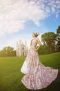 Princess in an vintage dress before the magic castle a woman like a Royalty Free Stock Images