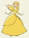 Princess in yellow dress illustration of a beautiful beautiful Royalty Free Stock Images