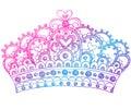 Princesse peu précise Tiara Crown Notebook Doodles Images libres de droits
