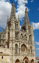 Principal Facade of Burgos Gothic Cathedral. Spain Stock Images