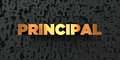 Principal - Gold text on black background - 3D rendered royalty free stock picture Royalty Free Stock Photo