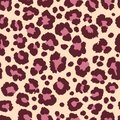 Leopard fur pattern texture repeating seamless pink black print Royalty Free Stock Photo
