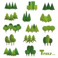 Trees isolated on white background. Beautiful set of vector green trees in group.
