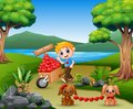 Cartoon boy pushing a pile of hearts in wood trolley with the dog Royalty Free Stock Photo