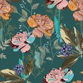 Spring bouquets on the vintage dark green background. Seamless pattern with delicate flowers.