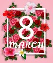 8 March Happy International Women`s Day Card with flowers and square frame
