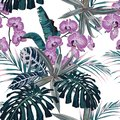 Amazing tropical pink orchid flowers pattern. Seamless design with botanical elements, palm monstera leaves.