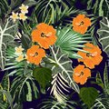 Summer colorful Hawaiian seamless pattern with tropical plants, palms leaves and orange hibiscus