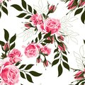 Pink rose and simple green leaves. Floral botanical flower. Seamless background pattern.