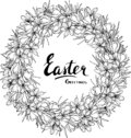 Easter vector greeting card design with floral wreath