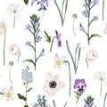 Meadow flowers, grass, garden herbs. Seamless herbal background in light colors for fashion design.