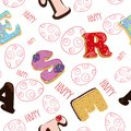 Seamless easter pattern. Sweet letters made of cake and cream with berries, chocolate letter in glaze