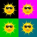 Happy smiling sun with sun glasses set Royalty Free Stock Photo