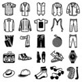 Man clothes and accessories icon set.
