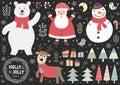 Set of cute Christmas elements: polar bear, Santa, snowman, deer, birds