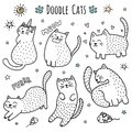 Cute hand drawn doodle cats