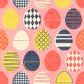 Abstract seamless retro Easter eggs pattern in stamped style. Royalty Free Stock Photo