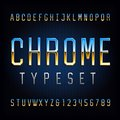 Chrome alphabet font. Chrome effect thin letters and numbers.