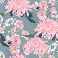 Seamless floral pattern. Pink Japanese national flower chrysanthemum and herbs.