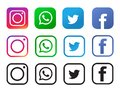 Four popular social media icons isolated on white background.