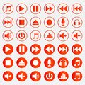 Music player icons color set Royalty Free Stock Photo