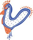 Flat abstract rooster in red, blue and white colors on a white background.