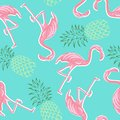 stock image of  Pink flamingos and pineapples on blue background seamless pattern.