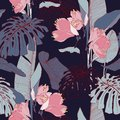 Pink line lily flowers with exotic monstera leaves, dark blue background. Floral seamless pattern. Royalty Free Stock Photo