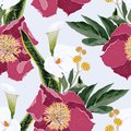 Pink peony flowers with callas lilies and herbs bouquet seamless pattern. Watercolor style Illustration.