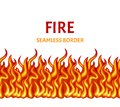Fire isolated on white background. Vector flame seamless border.