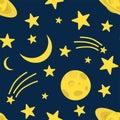 Night background, Saturn, Moon, comet and shining stars on dark blue sky, vector illustration. Good night concept