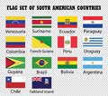 Flag set of South American Countries