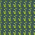 Seamless folk vector pattern with simple green flowers