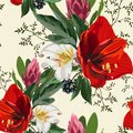 Seamless pattern with red lilies, protea, berries and herbs, flowers and leaves on light background.