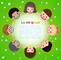 Kids holding hands in a circle on the meadow, Children`s Day or Earth Day. friendship day. Template for advertising brochure