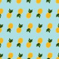 Seamless pattern pineapple on blue background