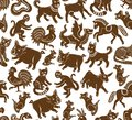 stock image of  Seamless zodiac signs illustration pattern gingerbread isolated on white background
