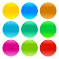 Set of glass website buttons without text in many colors vector illustration Royalty Free Stock Photo