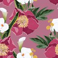 Pink peony flowers with callas lilies, leaves and herbs bouquet seamless pattern.