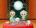 Ramadan celebration with Islamic couple enjoying Iftar Party
