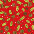 Seamless vector christmas pattern with tree branches and ornaments
