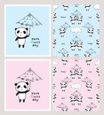 Have a nice day. Set of cards and seamless patterns with cute pandas Royalty Free Stock Photo