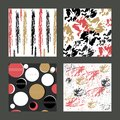 A set of colored textures and patterns with expressive, exotic and abstract elements. For postcards, invitations,