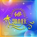 Happy Summer Party 2019. Vector multicolored logo on dark blue background. Sun and handwritten inscription.