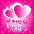 Happy valentine day, valentine`s day two heart white and pink with pink bokeh background