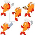 Set of chef fish cartoon