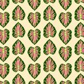 Print Abstract Leaves Pattern vector green pink yellow color