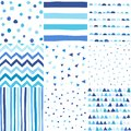 Seamless pattern in doodle style. Hand drawn baby boy blue color pattern set
